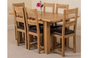 Hampton Solid Oak 120-160cm Extending Dining Table with 6 Lincoln Solid Oak Dining Chairs [Light Oak and Brown Leather]