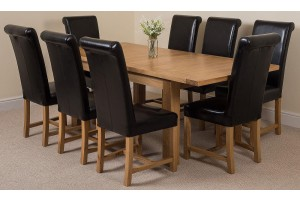 Seattle Solid Oak 150cm-210cm Extending Dining Table with 8 Washington Dining Chairs [Black Leather]
