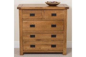 Cotswold Rustic Solid Oak Chest of Drawers [2+3 drawer]