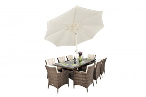Savannah Rattan Garden Furniture [8 Seat Dining Set with Rectangular Table]