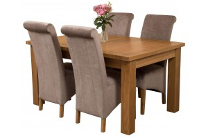 Seattle Solid Oak 150cm-210cm Extending Dining Table with 4 Montana Dining Chairs [Grey Fabric]