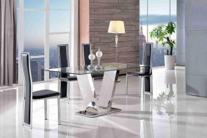 Valentino Glass and Steel Designer Dining Table with 6 Elsa Designer Dining Chairs [Black]