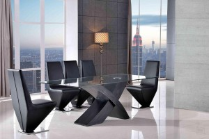 Valencia Black 160cm Wood and Glass Dining Table with 6 Rita Designer Dining Chairs [Black]