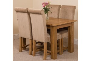 Hampton Solid Oak 120-160cm Extending Dining Table with 4 Washington Dining Chairs [Beige Fabric]