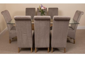 Valencia Oak 200cm Wood and Glass Dining Table with 8 Montana Dining Chairs [Grey Fabric]