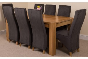 Kuba Solid Oak 180cm Dining Table with 8 Lola Dining Chairs [Black Fabric]