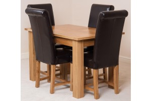 Hampton Solid Oak 120-160cm Extending Dining Table with 4 Washington Dining Chairs [Brown Leather]