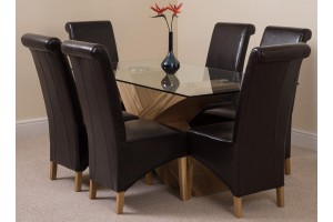 Valencia Oak 160cm Wood and Glass Dining Table with 6 Montana Dining Chairs [Brown Leather]