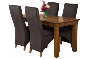 French Chateau Rustic Solid Oak 150cm Dining Table with 4 Lola Dining Chairs [Black Fabric]