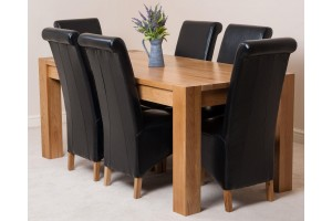 Kuba Solid Oak 180cm Dining Table with 6 Montana Dining Chairs [Black Leather]