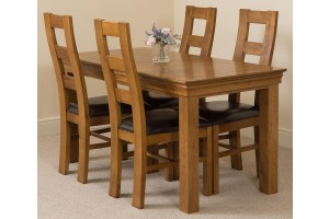 French Chateau Rustic Solid Oak 150cm Dining Table with 4 Yale Solid Oak Dining Chairs [Rustic Oak and Brown Leather]
