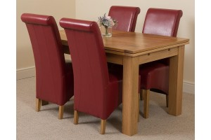 Richmond Solid Oak 140cm-220cm Extending Dining Table with 4 Montana Dining Chairs [Burgundy Leather]