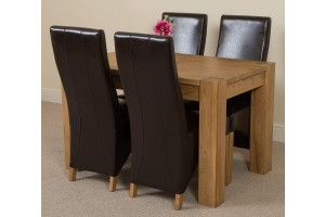 Kuba Solid Oak 125cm Dining Table with 4 Lola Dining Chairs [Brown Leather]