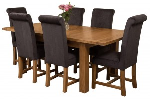 Seattle Solid Oak 150cm-210cm Extending Dining Table with 6 Washington Dining Chairs [Black Fabric]