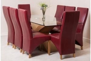Valencia Oak 200cm Wood and Glass Dining Table with 8 Lola Dining Chairs [Burgundy Leather]