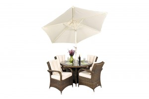 Arizona Rattan Garden Furniture [4 Seat Dining Set with Round Table]