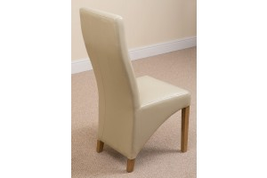 Side full length Lola Curved Back Leather Dining Chair [Ivory Leather]