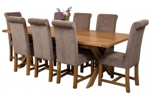 Vermont Solid Oak 200cm-240cm Crossed Leg Extending Dining Table with 8 Washington Dining Chairs [Grey Fabric]