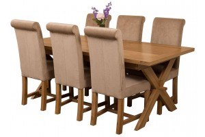 Vermont Solid Oak 200cm-240cm Crossed Leg Extending Dining Table with 6 Washington Dining Chairs [Beige Fabric]