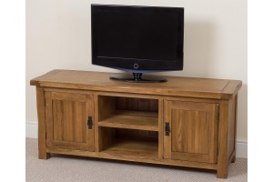 Cotswold Rustic Solid Oak Widescreen TV Cabinet