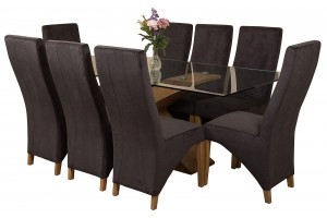 Valencia Oak 200cm Wood and Glass Dining Table with 8 Lola Dining Chairs [Black Fabric]