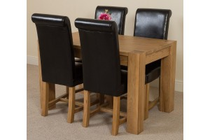 Kuba Solid Oak 125cm Dining Table with 4 Washington Dining Chairs [Black Leather]