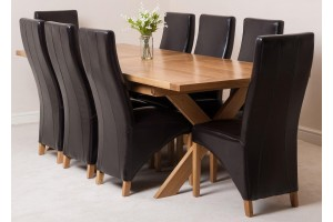 Vermont Solid Oak 200cm-240cm Crossed Leg Extending Dining Table with 8 Lola Dining Chairs [Brown Leather]