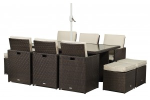 Giardino Rattan Garden Furniture [6 Seat Cube Dining Set Plus Umbrella]