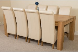Kuba Solid Oak 220cm Dining Table with 8 Montana Dining Chairs [Ivory Leather]