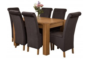 Kuba Solid Oak 125cm Dining Table with 6 Montana Dining Chairs [Black Fabric]