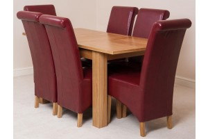 Hampton Solid Oak 120-160cm Extending Dining Table with 6 Montana Dining Chairs [Burgundy Leather]