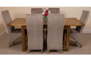 Cotswold Rustic Solid Oak 132cm-198cm Extending Farmhouse Dining Table with 6 Lola Dining Chairs [Grey Fabric]