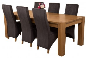 Kuba Solid Oak 220cm Dining Table with 6 Lola Dining Chairs [Black Fabric]