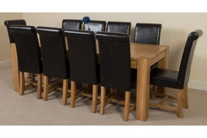Kuba Solid Oak 220cm Dining Table with 10 Washington Dining Chairs [Black Leather]
