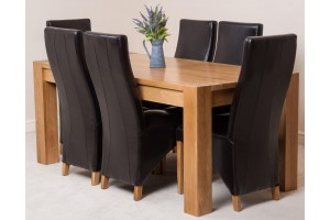Kuba Solid Oak 180cm Dining Table with 6 Lola Dining Chairs [Brown Leather]