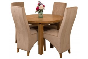 Edmonton Solid Oak Extending Oval Dining Table with 4 Lola Dining Chairs [Beige Fabric]