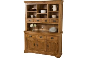 French Chateau Rustic Solid Oak Large Dresser