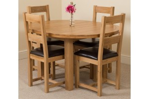 Edmonton Solid Oak Extending Oval Dining Table With 4 Lincoln Solid Oak Dining Chairs [Light Oak and Brown Leather]