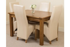 Cotswold Rustic Solid Oak 132cm-198cm Extending Farmhouse Dining Table with 4 Lola Dining Chairs [Ivory Leather]