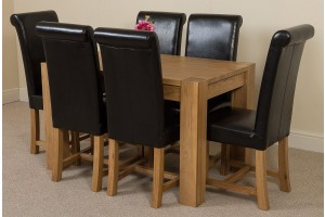 Kuba Solid Oak 125cm Dining Table with 6 Washington Dining Chairs [Black Leather]