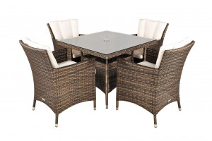 Savannah Rattan Garden Furniture [4 Seat Dining Set with Square Table]