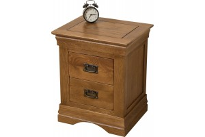 French Chateau Rustic Solid Oak Bedside Table