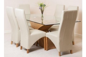Valencia Oak 200cm Wood and Glass Dining Table with 6 Lola Dining Chairs [Ivory Leather]