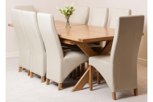 Vermont Solid Oak 200cm-240cm Crossed Leg Extending Dining Table with 8 Lola Dining Chairs [Ivory Leather]