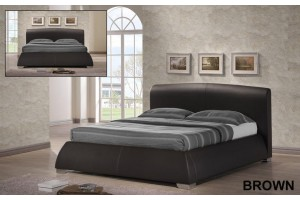 Modena 4ft6 Double Designer Brown Leather Bed Frame & Memory Foam Mattress
