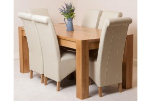Kuba Solid Oak 180cm Dining Table with 6 Montana Dining Chairs [Ivory Leather]