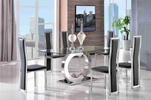 Channel Glass and Polished Steel Dining Table with 6 Elsa Designer Dining Chairs [Black]
