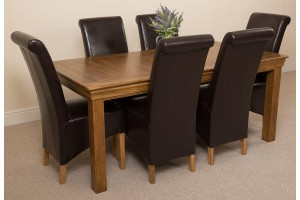 French Chateau Rustic Solid Oak 180cm Dining Table with 6 Montana Dining Chairs [Brown Leather]