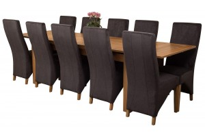 Richmond Solid Oak 200cm-280cm Extending Dining Table with 10 Lola Dining Chairs [Black Fabric]