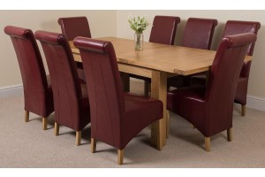 Seattle Solid Oak 150cm-210cm Extending Dining Table with 8 Montana Dining Chairs [Burgundy Leather]